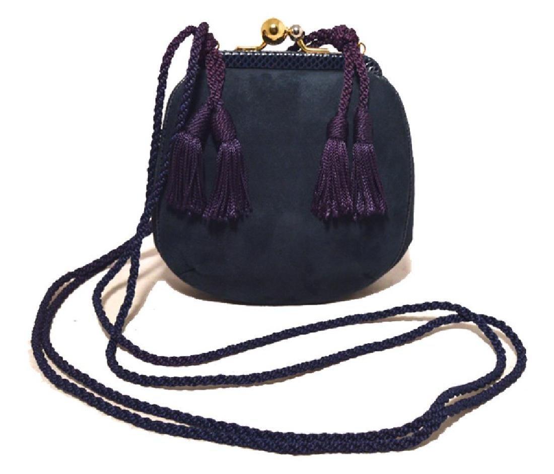 Judith Leiber Navy Blue Suede Tassel Shoulder Bag