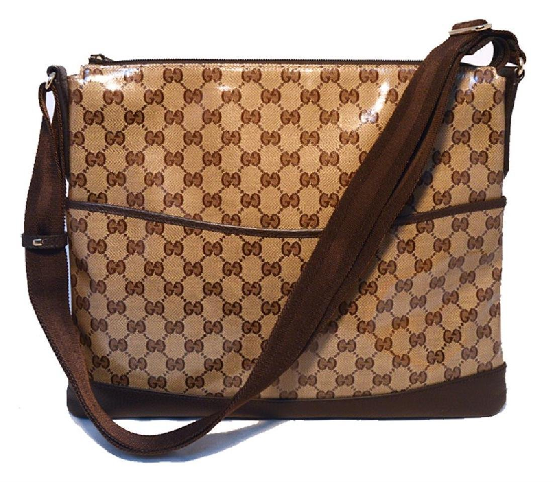 Gucci Coated Monogram Canvas and Leather Trim Shoulder