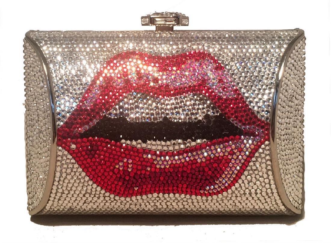 NWT Judith Leiber Swarovski Crystal Lip Print