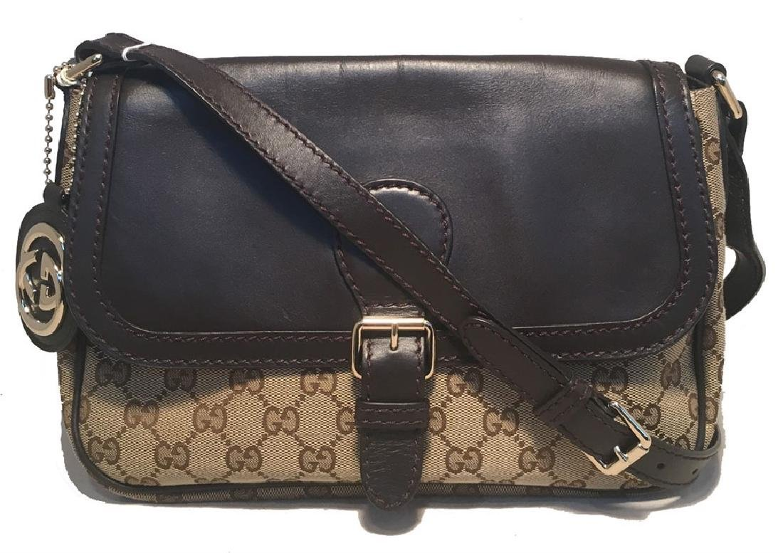 Gucci Brown Leather and Monogram Top Flap Shoulder Bag