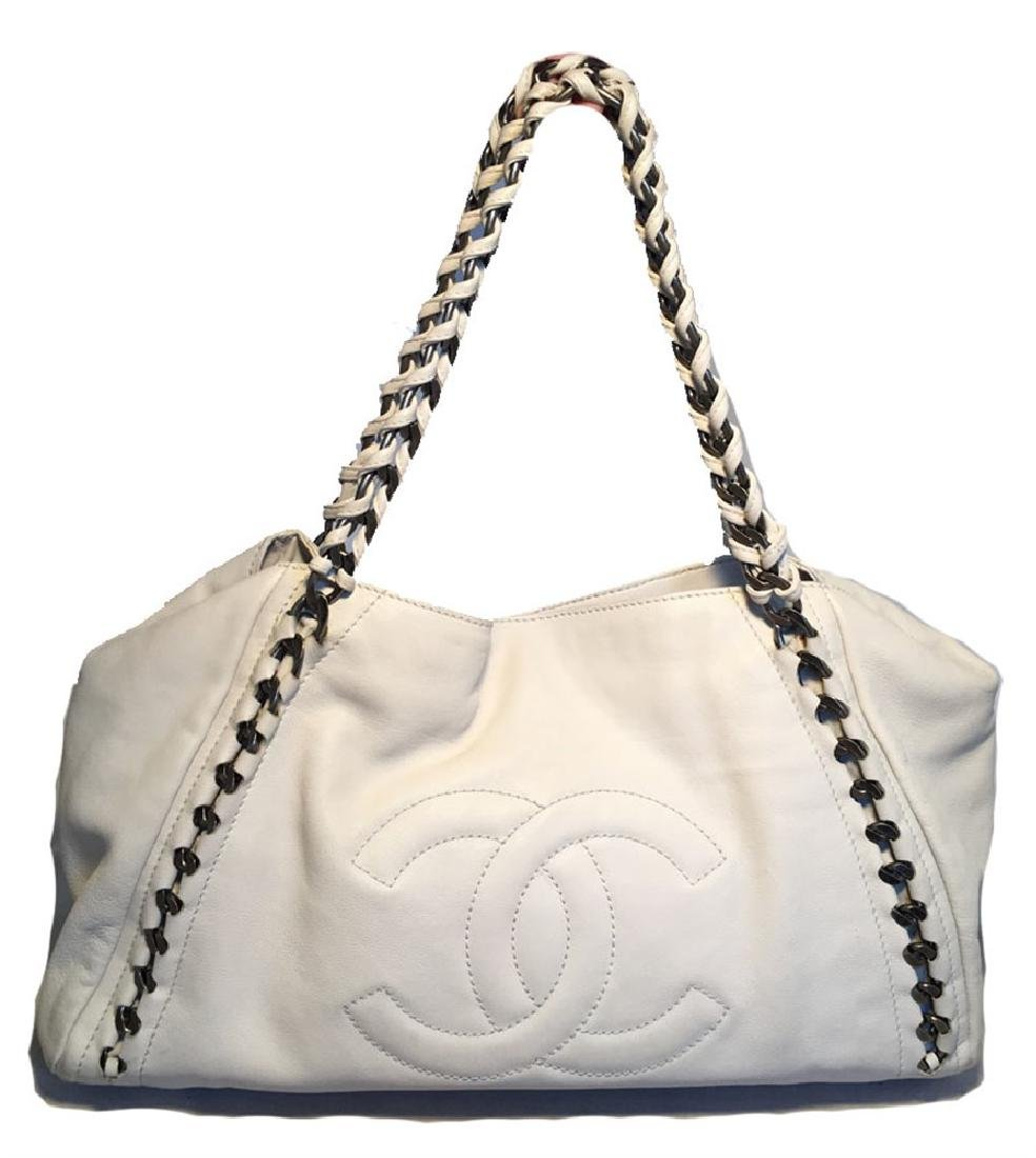 Chanel White Leather Chain Trim Shoulder Bag Tote