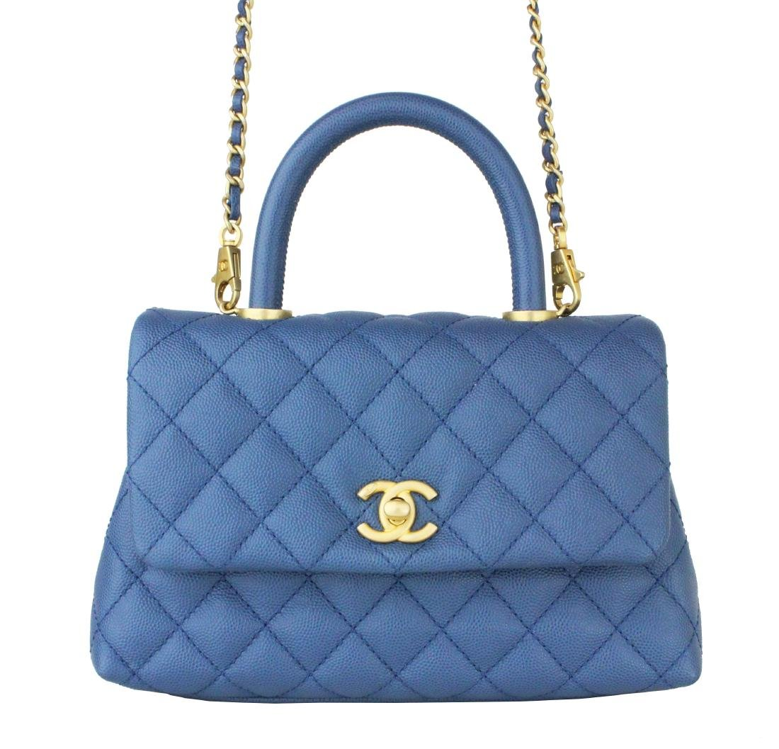 CHANEL Caviar Quilted Mini Coco Handle Flap Blue