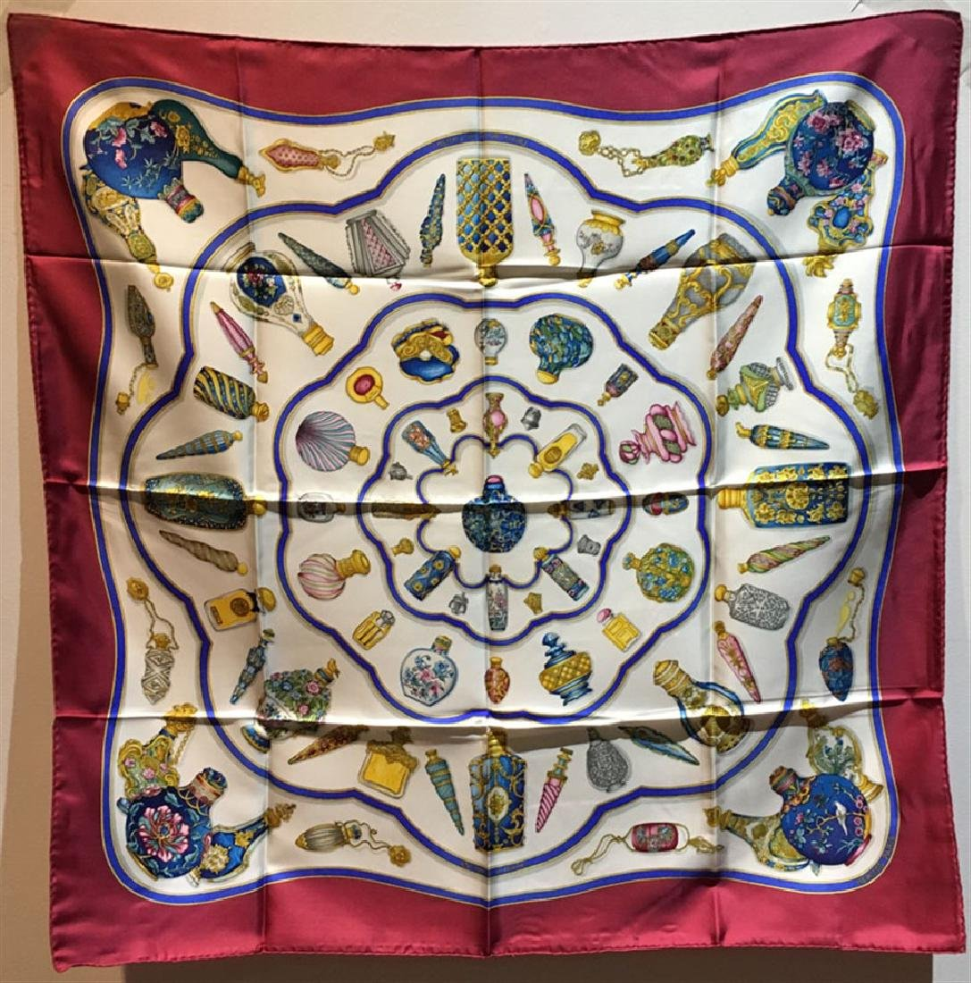 Hermes Vintage Qui' Import le Flacons Silk Scarf in
