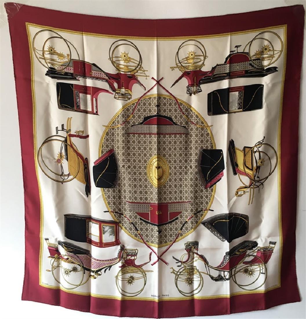 Hermes Vintage Les Voitures a Transformation Silk Scarf