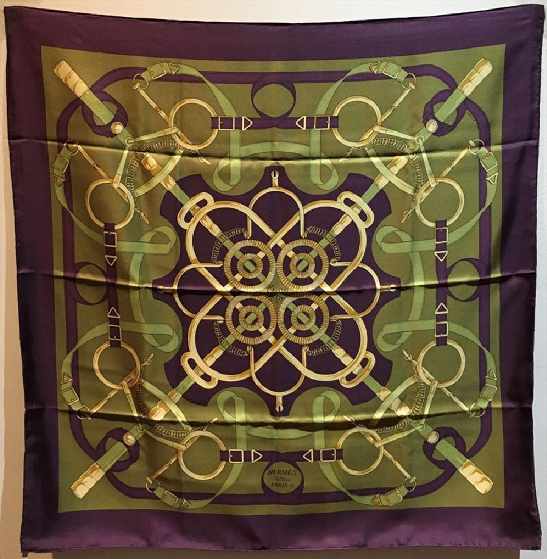 Hermes Vintage Eperon d'Or Silk Scarf c1970s in Purple