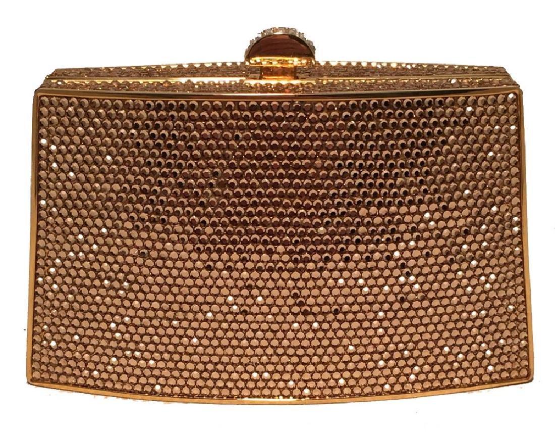 Judith Leiber Gold Swarovski Crystal Mini Minaudiere