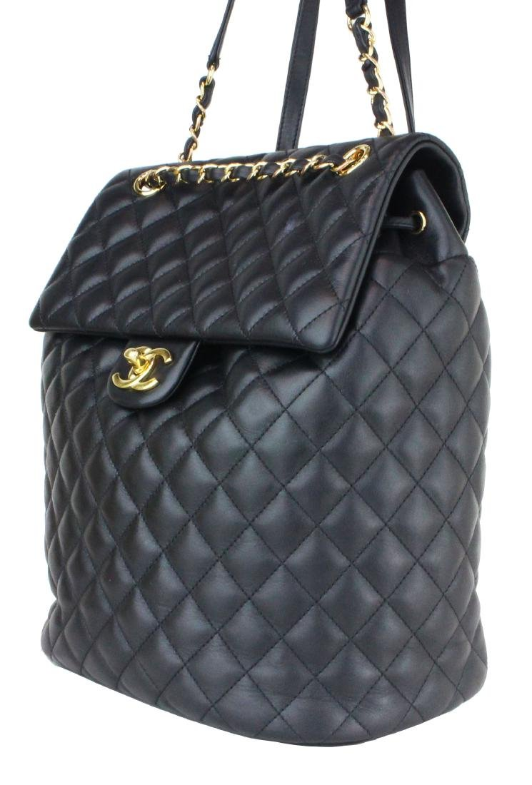 CHANEL BACKPACK URBAN SPIRIT BLACK LAMBSKIN LEATHER