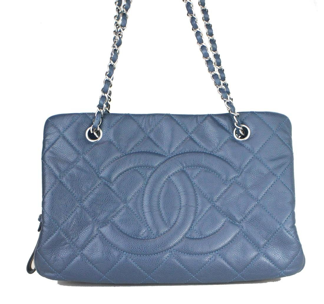 Chanel Navy Blue Caviar Shopping Tote Bag