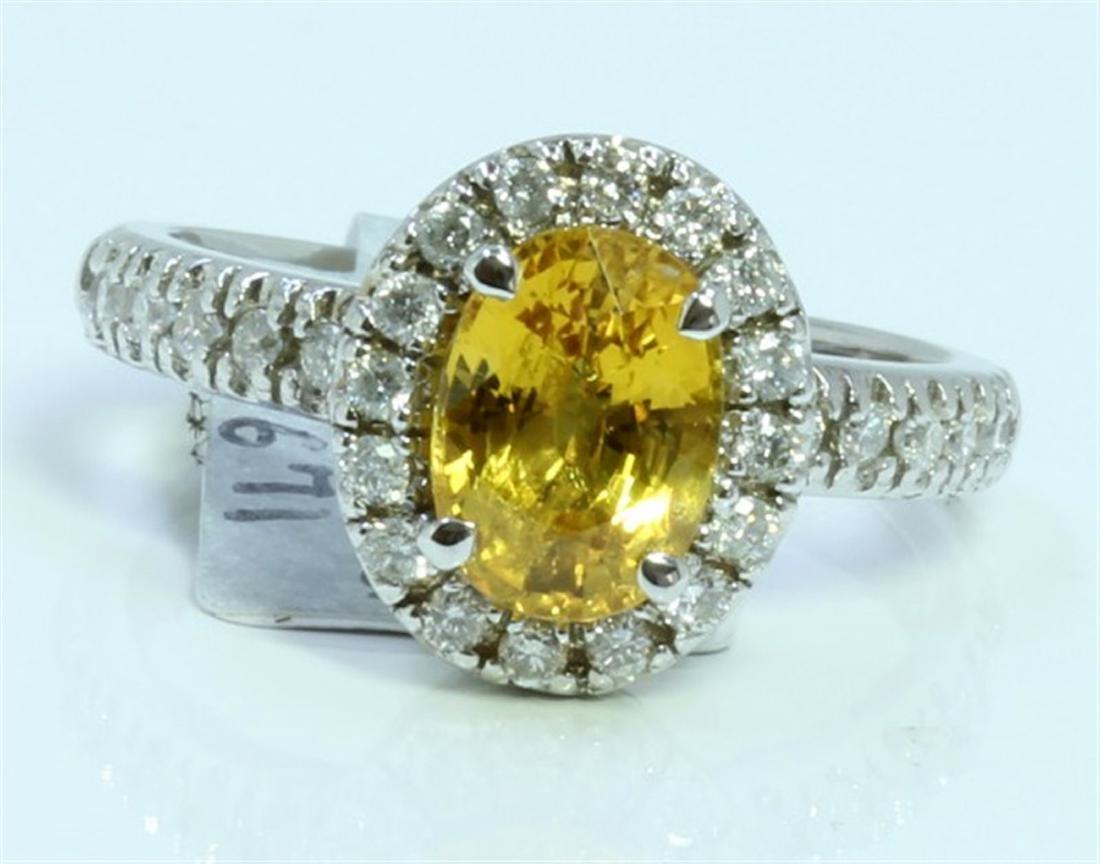 YELLOW SAPPHIRE 1.9CT  14K WHITE GOLD RING