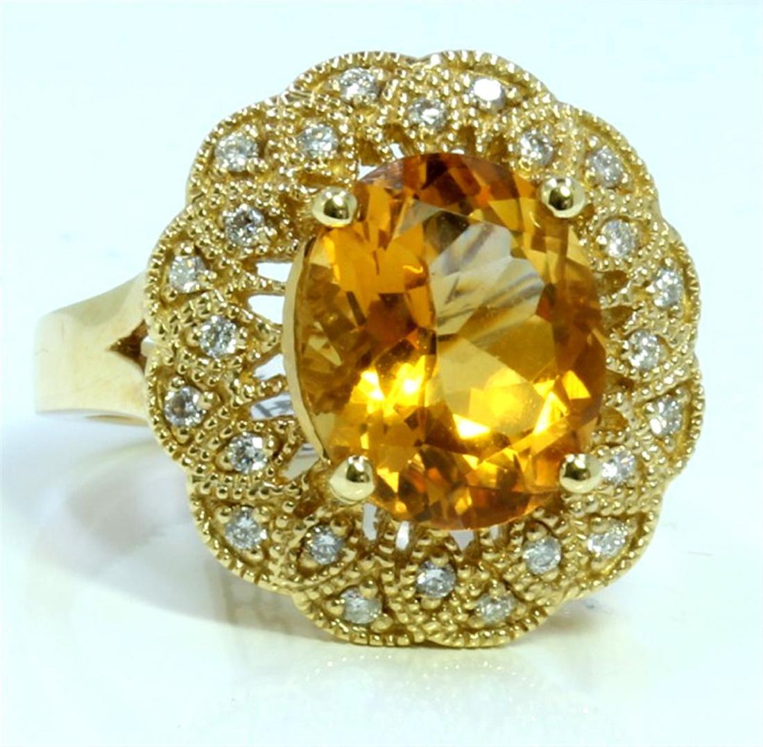 CITRINE 4.29CT 14K YELLOW GOLD RING