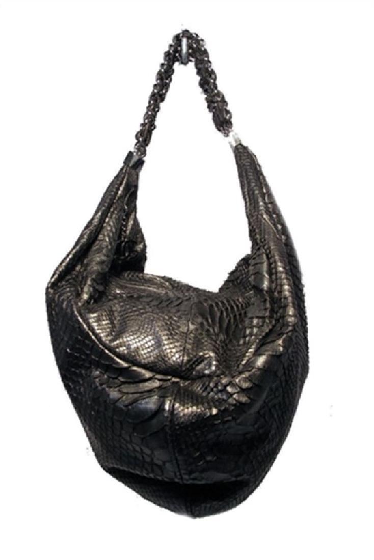 Chanel Black Python Hobo Shoulder Satchel Bag