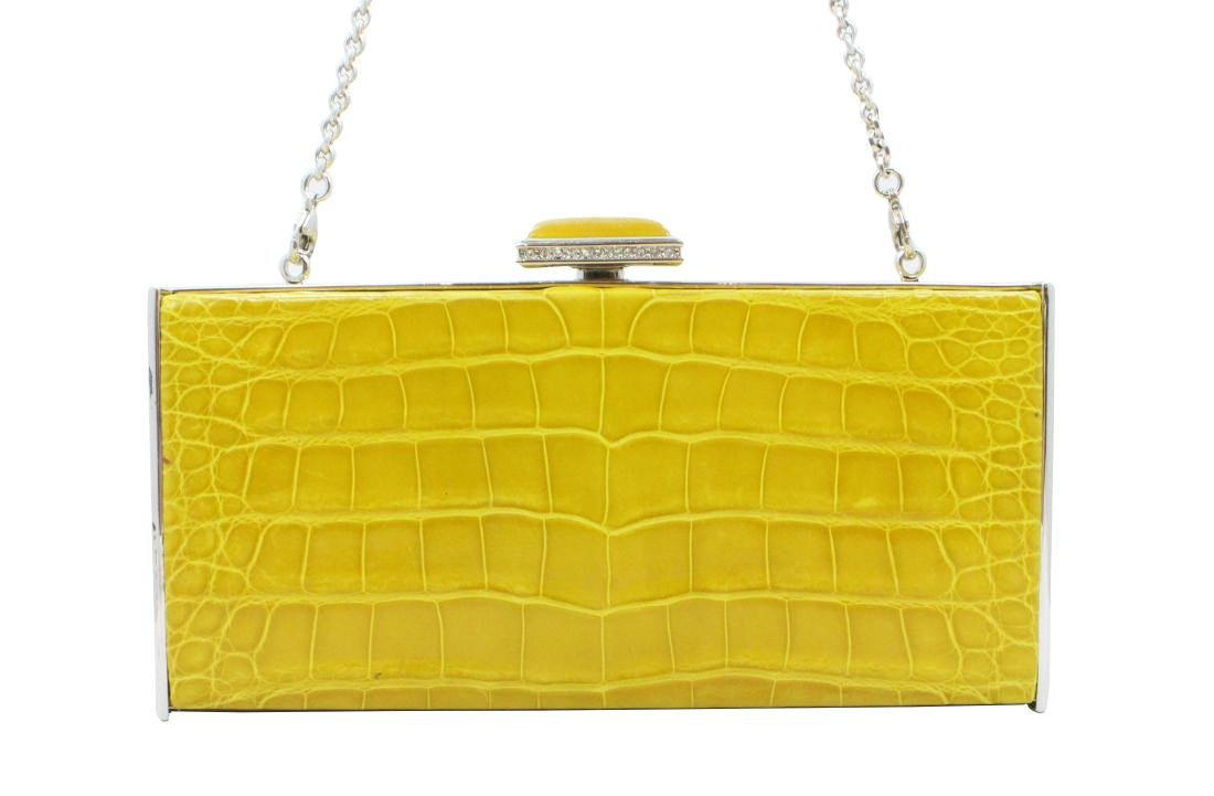 Judith Leiber Yellow East-West Rectangle Clutch Bag,