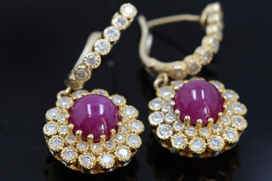 6.67ct Ruby Cab 18K Yellow Gold Earring