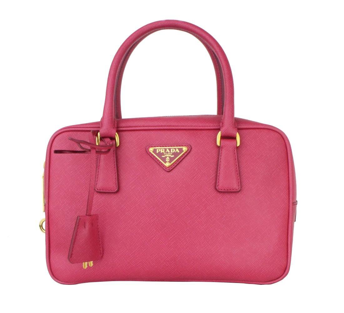 Prada Double Saffiano Mini Double-zip Lux Tote Pink
