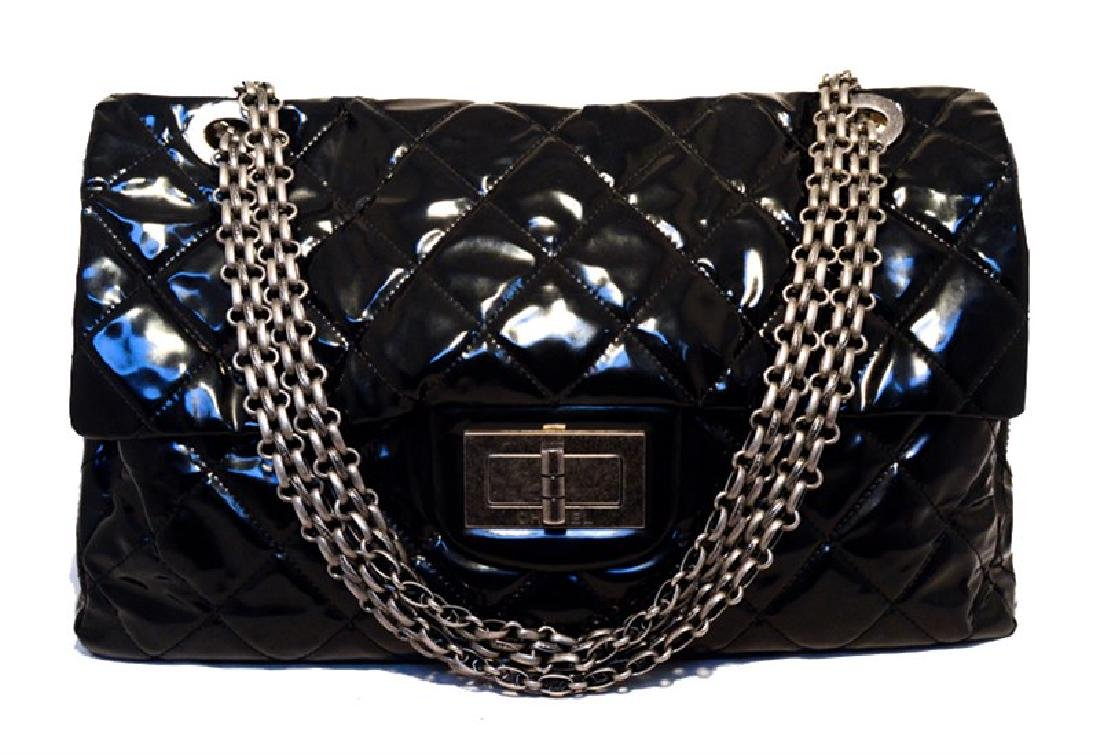 CHANEL Black Patent Leather Oversized Xxl Classic Flap