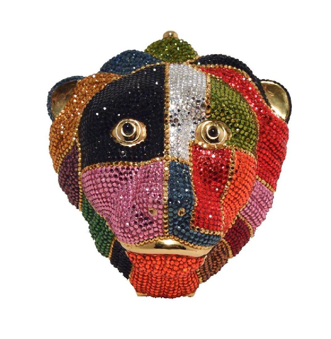Judith Leiber Swarovski Crystal Multicolor Lions Head