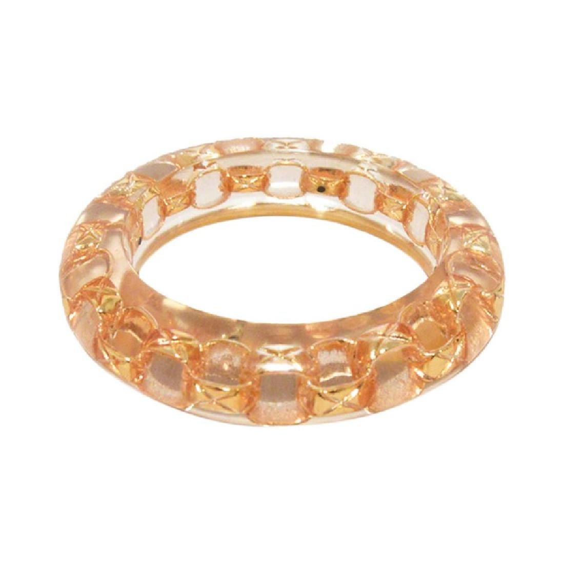 Authentic Chanel Clear Acrylic and Gold Chain Bangle