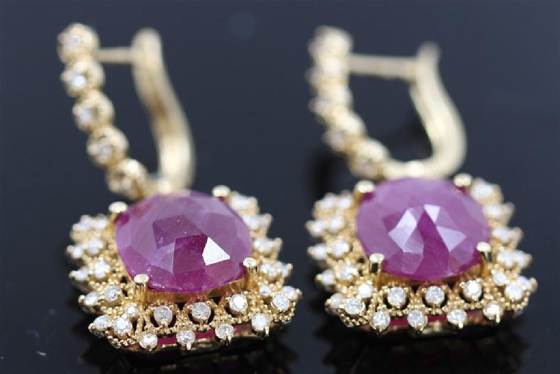 11.21ct Ruby Cabochion 14K Yellow Gold Earring