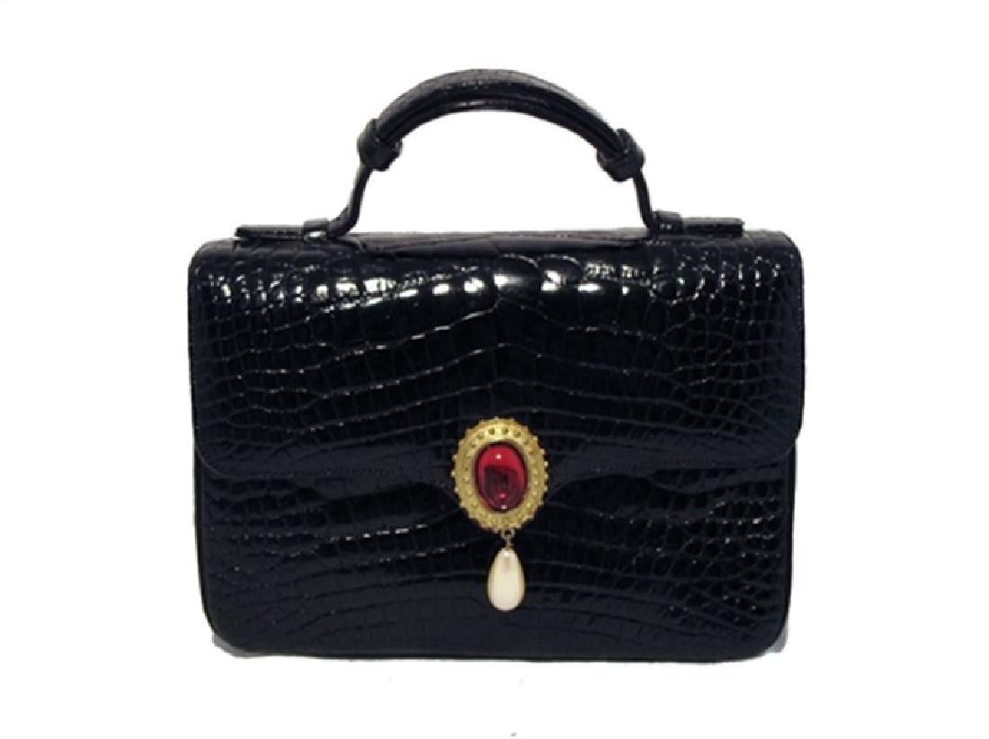 Judith Leiber Black Alligator and Pearl Mini Handbag