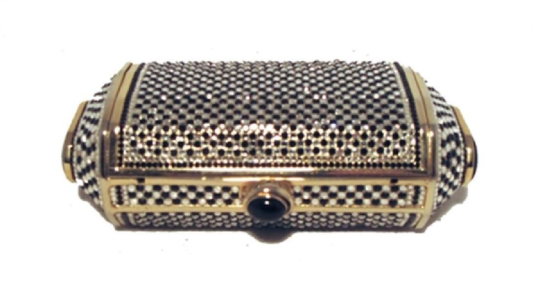 Judith Leiber Black and White Swarovski Minaudiere