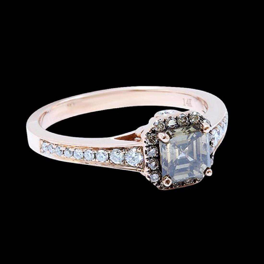 0.95CT NATURAL DIAMOND 14K ROSE GOLD RING