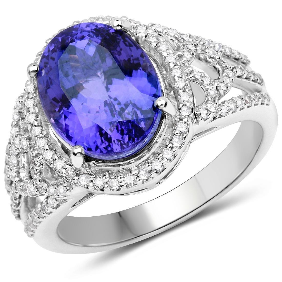 5.11ct Tanzanite 14K White Gold Ring