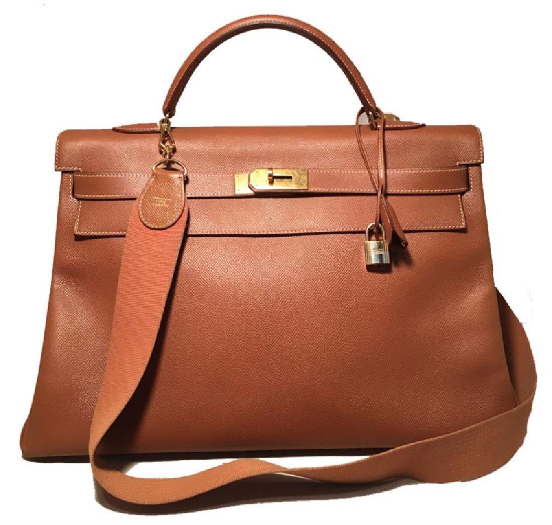 Hermes Tan Veau Graine 40 cm Kelly Bag with Strap