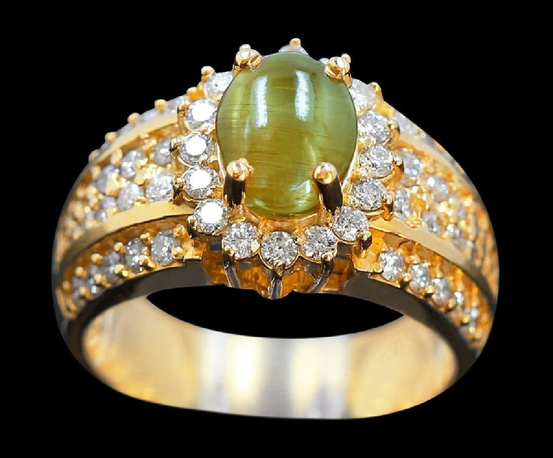 2.50ct Cats Eye 18K Yellow Gold Ring