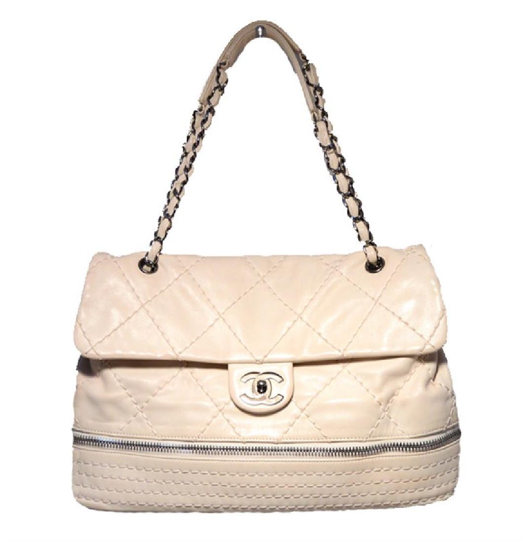 Chanel Cream Quilted Leather Zip Bottom Classic