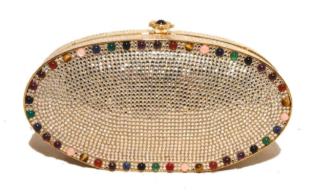Judith Leiber Swarovski Crystal Oval Multi-colored Gem