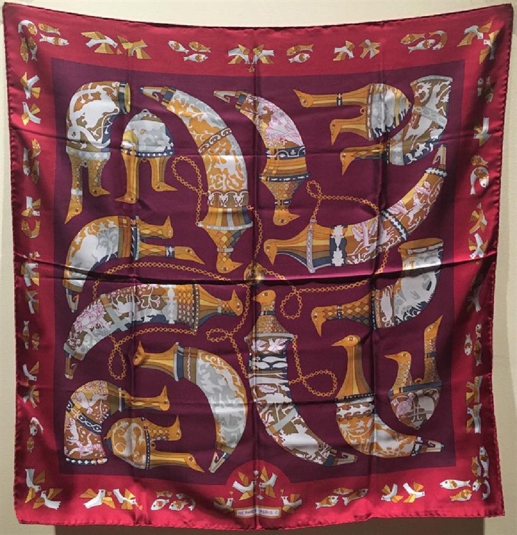 Hermes Vintage Rhytons Silk Scarf in Burgundy