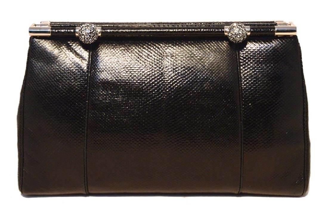 Judith Leiber Vintage Black Lizard Clutch with