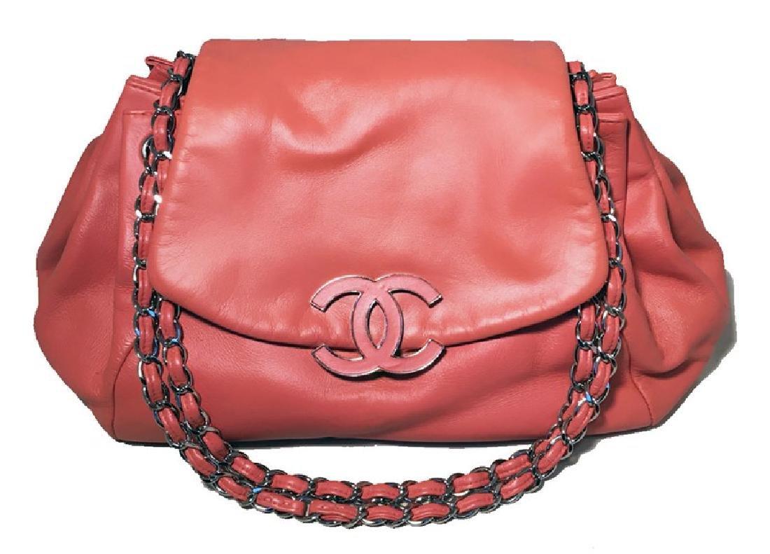 Chanel Coral Leather Top Flap Shoulder Bag