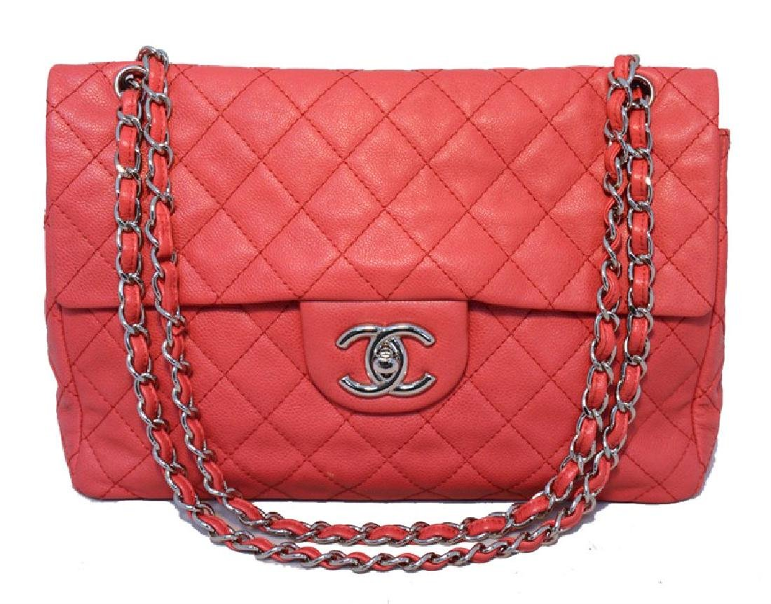 Chanel Dark Pink Relaxed Caviar Leather Jumbo Classic