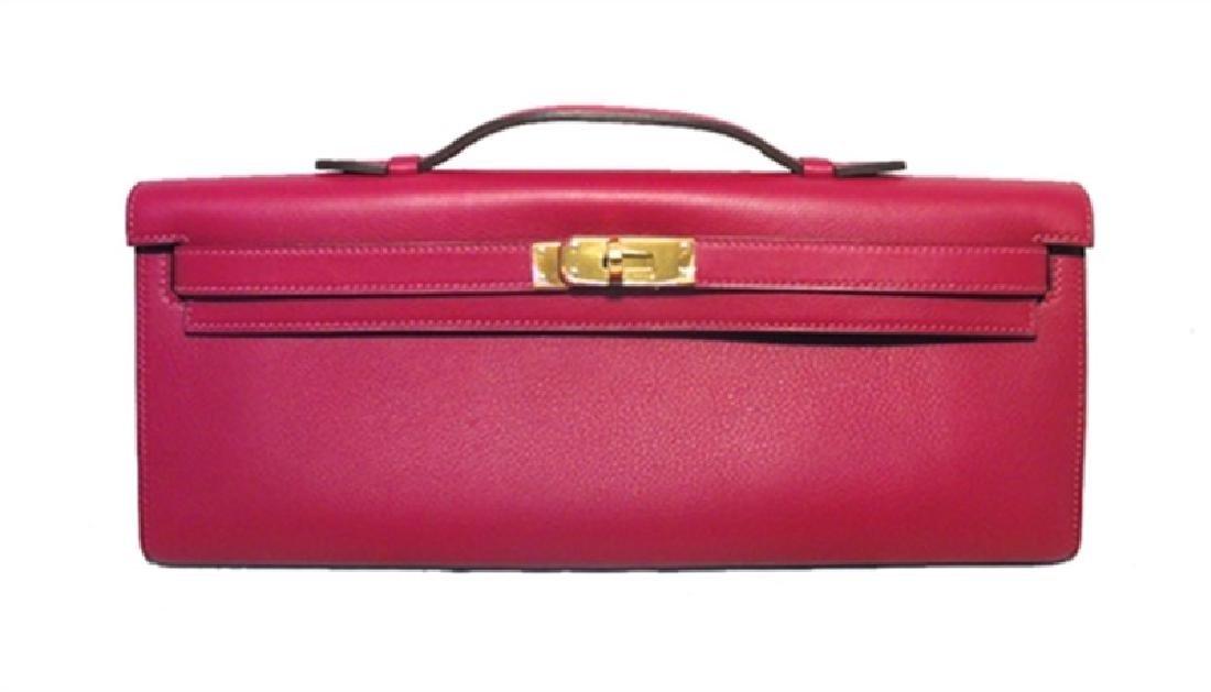 Hermes Fuchsia Swift Leather Kelly Clutch Handbag-rare