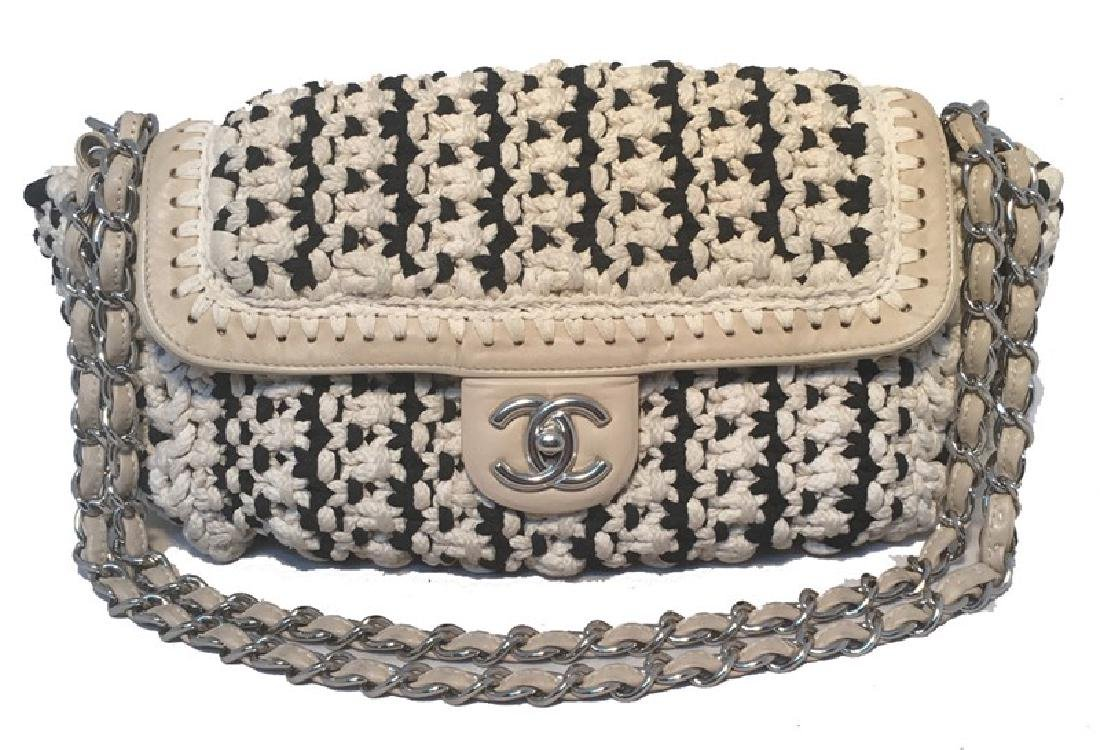 Limited Edition Chanel Black and White Woven Rope