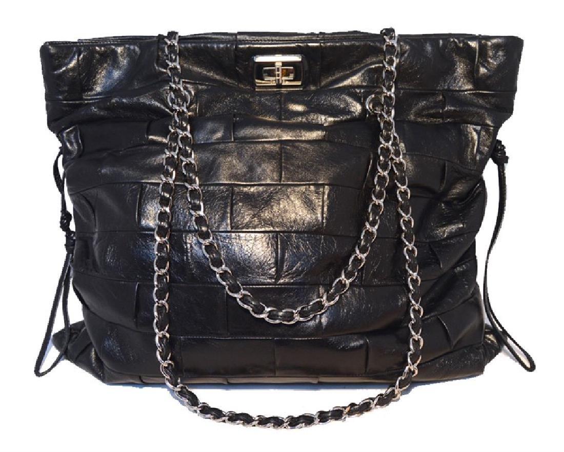 Chanel Black Leather Square Quilted Shoulder Bag Tote