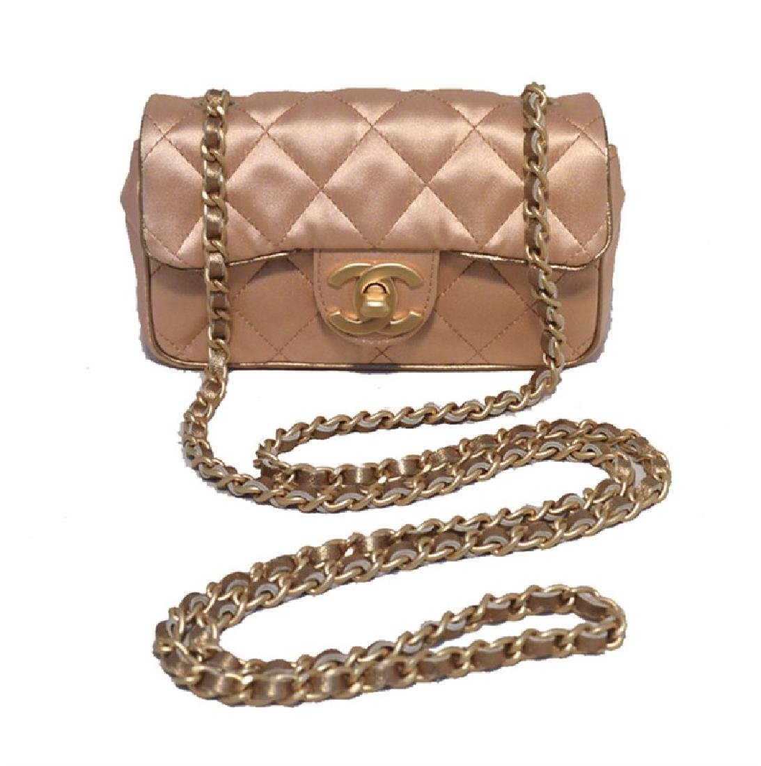 Chanel Pale Pink Quilted Satin Mini Classic Flap