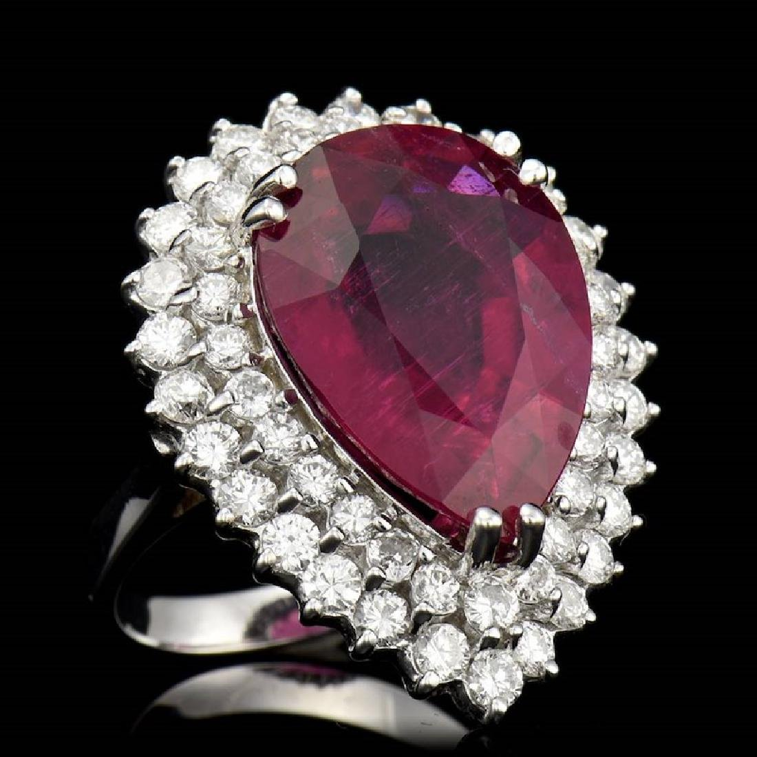 15.18ct NATURAL RUBELLITE 14K WHITE GOLD RING