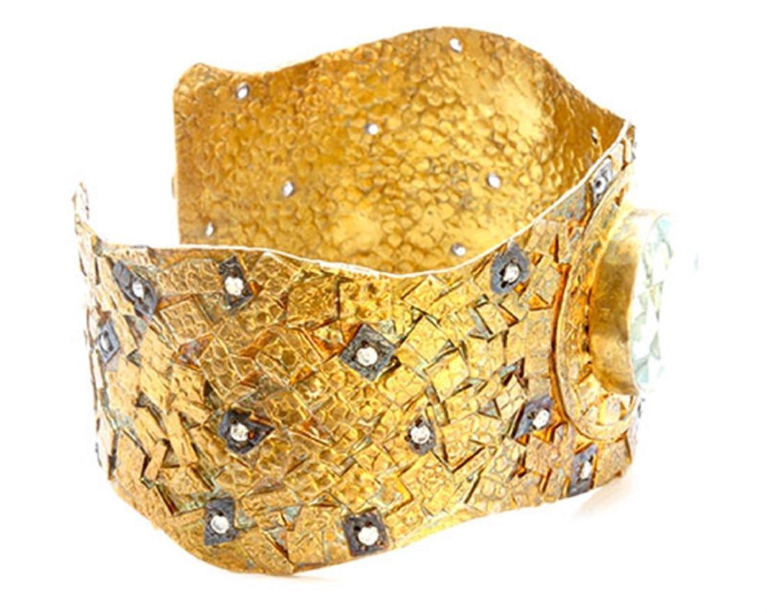 Sterling Silver .925 gold tone Cuff Bangle 53.55 gram