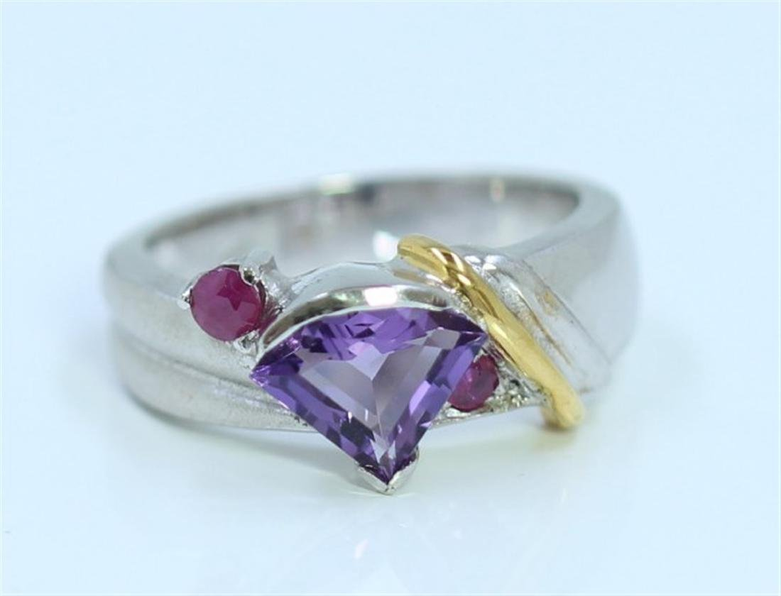 sterling Silver .925 amethyst with ruby  Gem stone Ring