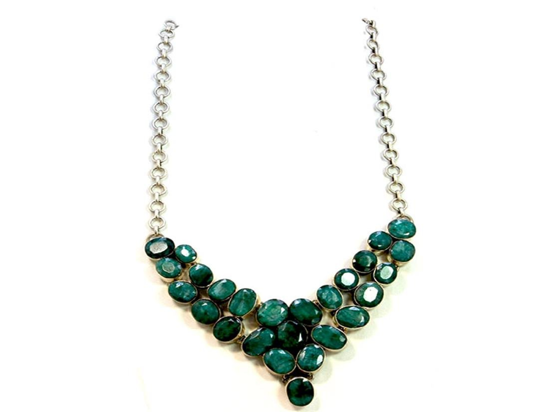 Sterling Silver .925 Emerald Beryl Necklace ctw