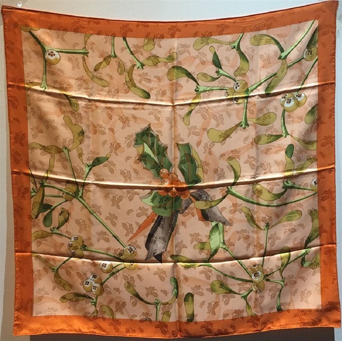 Hermes Vintage Orange Neige d'Anatan Silk Scarf