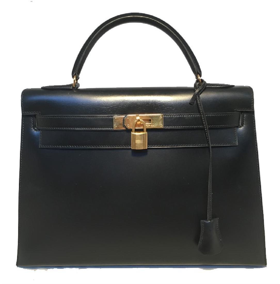 Hermes Vintage Black Box Calf 32cm Kelly Bag