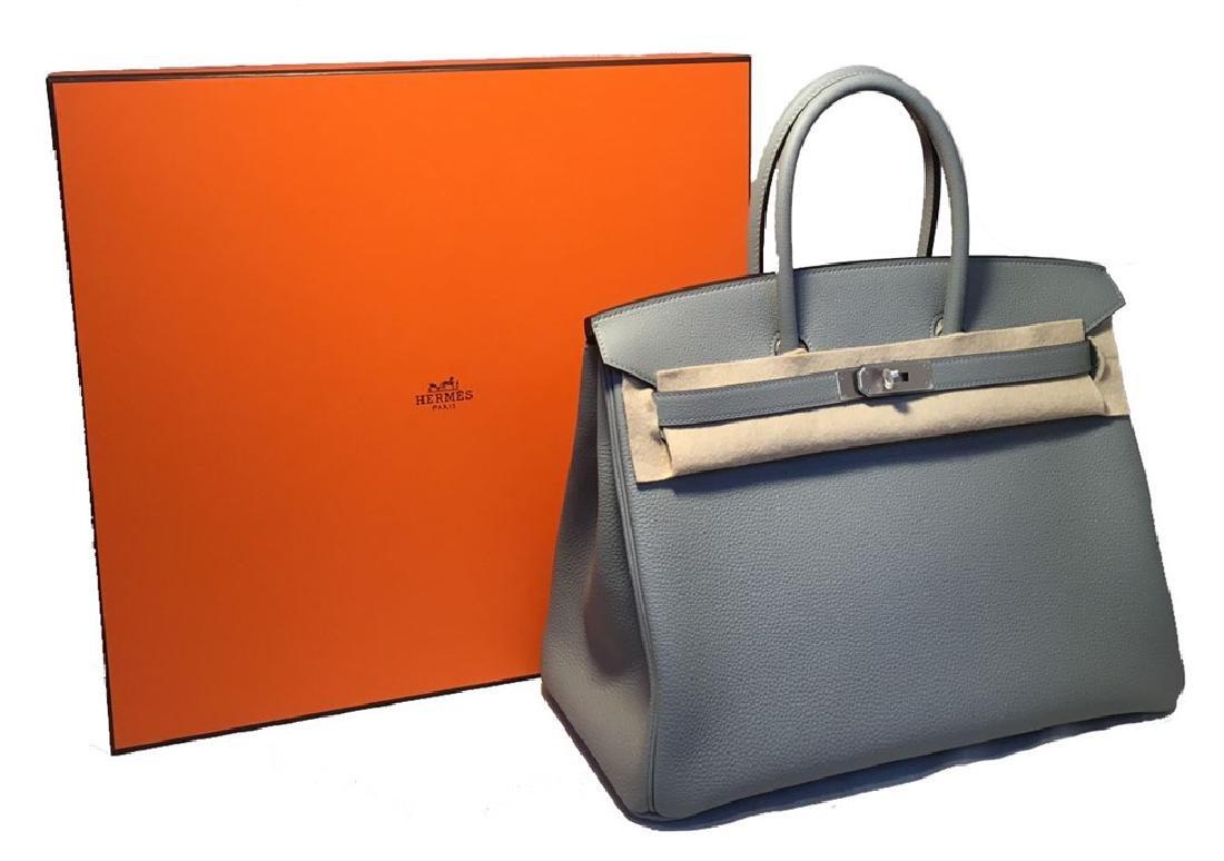 2017 CUSTOM Made NWOT Hermes Grey 35cm Togo Birkin Bag