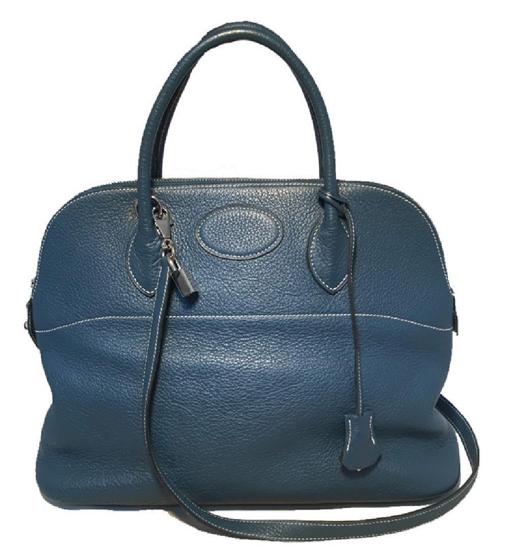Hermes Mykonos Blue Clemence Bolide Handbag W/ Shoulder