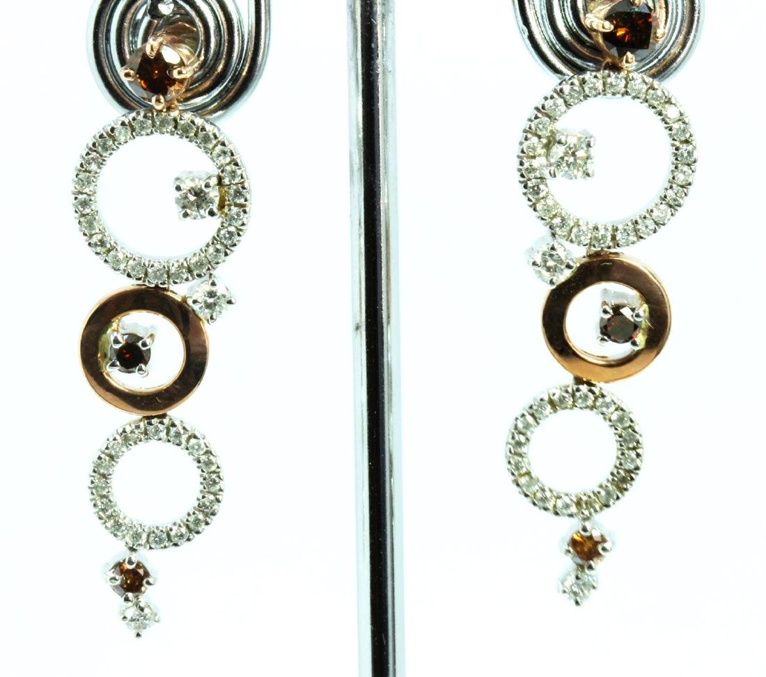 BROWN DIAMOND 0.77CT 14K WHITE AND ROSE GOLD EARRING