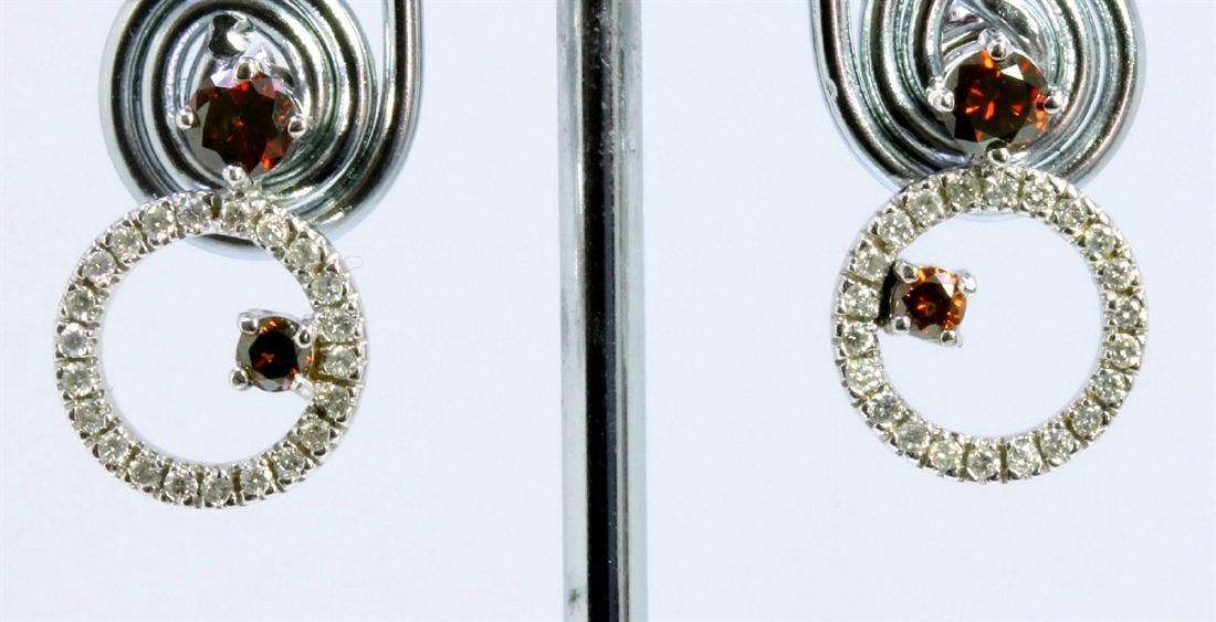 BROWN DIAMOND 0.62CT 14K WHITE GOLD EARRING 3.70GRAM