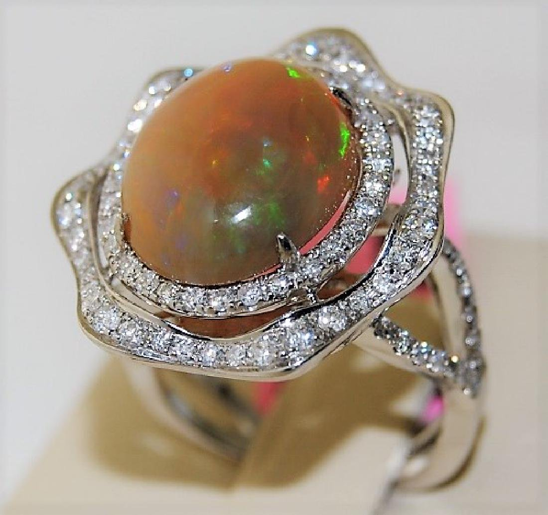 Opal 4.63ct 14K White Gold 6.00gm Ring
