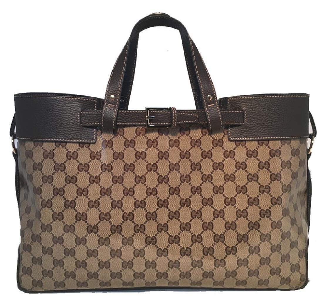 Gucci Coated Monogram and Leather Buckled Portfolio